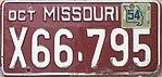 1954 Missouri license plate X66-795.jpg
