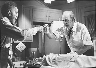 Sam Jaffe - Film still of the special TV presentation The Sad and Lonely Sundays (1976). Pictured are Jaffe (left) and Jack Albertson.