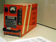 """Cockpit Voice Recorder (Exhibit in Deutsches Museum, Munich, Germany). This is a magnetic tape unit built to an old standard TSO C84 as shown on the nameplate. The text on the side in French """"FLIGHT RECORDER DO NOT OPEN"""""""