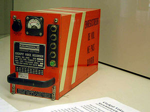 "Flight recorder - Cockpit voice recorder (on display in the Deutsches Museum). This is a magnetic tape unit built to an old standard TSO C84 as shown on the nameplate. The text on the side in French says ""flight recorder do not open"""