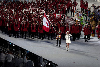 The entrance of the Canadian athletes into BC Place Stadium. 2010 Opening Ceremonies - Canadian athletes enter by Freeman adjusted.jpg