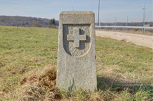Boncourt, Switzerland - French-Swiss border marker at Boncourt