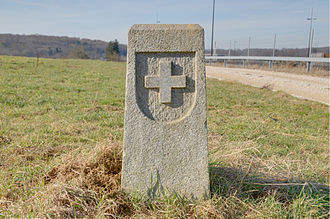 Boncourt, Switzerland - French-Swiss border marker at Boncourt