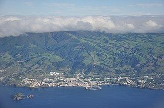 1522 Vila Franca earthquake - A view of the Água do Pau Massif overlooking the modern town of Vila Franca do Campo