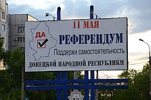 "Donbass status referendums, 2014 - A billboard promoting the ""Yes"" vote"