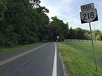 2016-07-22 08 33 48 View east along Virginia State Route 218 (Tetotum Road) just east of Pumpkin Neck Road in Tetotum, King George County, Virginia.jpg