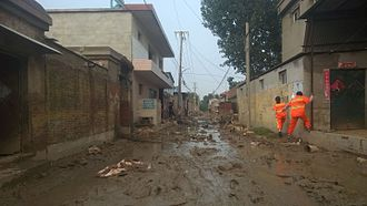 July 2016 North China cyclone - A muddy village in Xingtai
