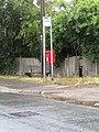 2018-08-10 Bus stop, bench and post box, Cromer Road, Mundesley.JPG