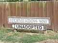 2018-09-14 Street name sign, Beckmeadow Way, Mundesley.JPG