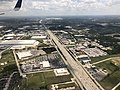 2019-07-19 14 39 09 View south along Interstate 45 (North Freeway) near Exit 64 on the north edge of Houston, Harris County, Texas from an airplane landing at George Bush Intercontinental Airport.jpg