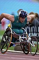 231000 - Athletics wheelchair racing 10km final John Maclean action - 3b - 2000 Sydney race photo.jpg
