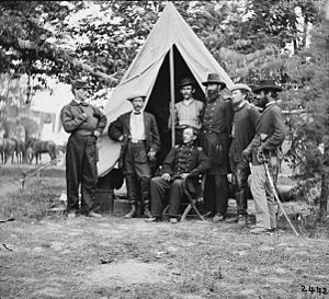 3rd Indiana Cavalry Regiment - Col. George H. Chapman and his staff of the 3rd Regiment Indiana Cavalry (East Wing) on duty with the Army of the Potomac.
