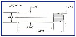 .45 Black Powder Magnum - Diagram of the .45 BPM. Maximum dimensions shown.