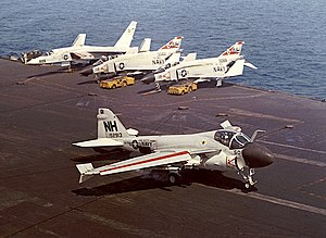 USS Kitty Hawk (CV-63) - An A-6 Intruder from VA-75 traps aboard Kitty Hawk during her 1967-68 deployment to Vietnam
