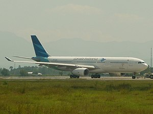 Sultan Iskandar Muda International Airport - Garuda Indonesia Airbus A330–300 PK-GPG being pushback before take off to Jeddah, Saudi Arabia