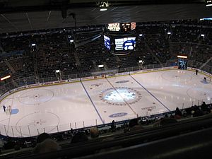 Stadium seating - The view of the ice from the last row of Toronto's Air Canada Centre with stadium seating.