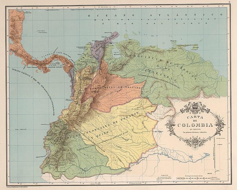 Primeras divisiones del Nuevo Reino de Granada, 1538.