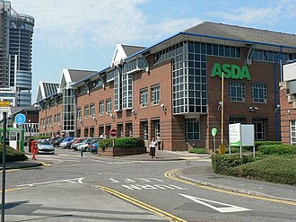 Asda's Headquarters, Asda House in Leeds; Asda was the UK's second largest supermarket until 2014, and is now third; Asda turned over PS23.3bn in 2015, and is the region's largest company ASDA headquarters, Great Wilson Street, Leeds - geograph.org.uk - 196141.jpg