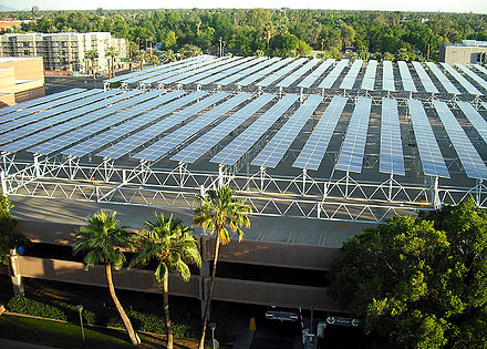 Solar panel array on the roof deck of ASU's parking structure on Apache Blvd. in Tempe, AZ. ASU-SolarArray.jpg