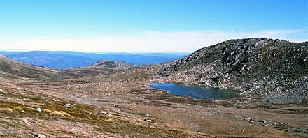 Lake Cootapatamba in the characteristically U shaped glacial valley, Kosciuszko National Park. AU Kosciuszko L Cootapatamba.jpg