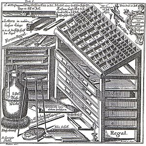 Type case - An 18th-century type case, with various tools for typesetting