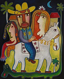 A Caballo, Oil on canvas by Jose Fuster.