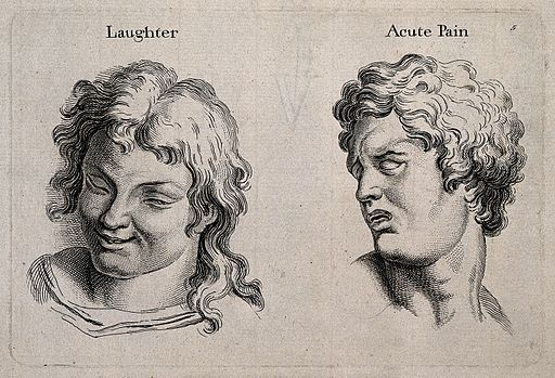 A laughing face (left) and a face expressing acute pain (rig Wellcome V0009322