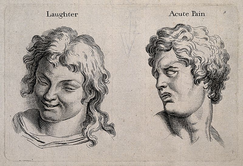 File:A laughing face (left) and a face expressing acute pain (rig Wellcome V0009322.jpg