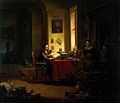 A physician examining a urine-flask. Oil painting by Justus Wellcome L0019865.jpg