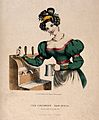 A pretty barmaid drawing beer. Coloured lithograph, c. 1825. Wellcome V0019578.jpg