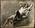 A reclining male nude with his right arm resting on his head Wellcome V0048978.jpg