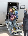 A rescued person flown from Kathmandu deboarding an Indian Air Force (IAF) aircraft at Air Force Station Palam, New Delhi following a massive earthquake.jpg
