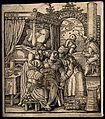 A seated woman giving birth aided by a midwife and two other Wellcome V0014910.jpg