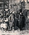 A street scene with bulding work going on and an old man hol Wellcome V0039983.jpg