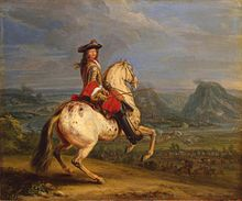 Painting of a man holding a sword while riding a rearing horse
