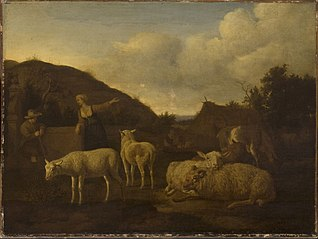 A Shepherd and a Shepherdess with a Flock of Sheep