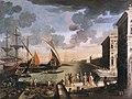 Adriaen van der Kabel- Zicht op een haven met aankomst van een ambassadeur.jpg