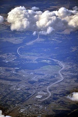 U.S. Route 395 in Washington - U.S. Route 395 north of Spokane (aerial photograph from slightly east of south; 2013)
