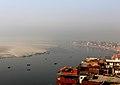 Aerial View Ganga River Banks, Varanasi India 2012.jpg