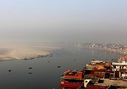 Aerial View Ganga River Banks, Varanasi India 2012.jpg