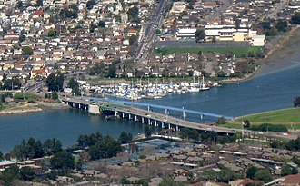 Bay Farm Island Bridge - Aerial view of both bridges (2009)