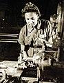 African American worker undersizing bushings at Naval Aircraft Factory, Philadelphia, PA, WWII (26386665714).jpg