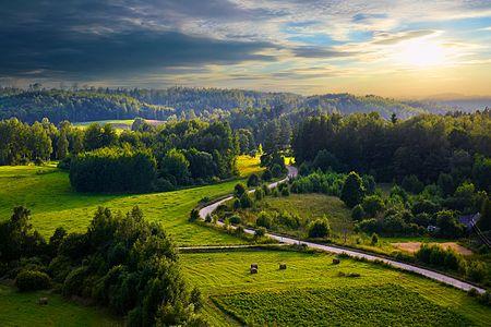 Landscape of Augšzeme Highland near Svente, Latvia