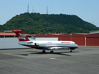 Air Panama - A former Air Panama Fokker 70 aircraft parked at Albrook - Marcos A. Gelabert International Airport (2011).