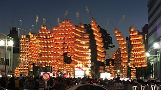 Akita Prefecture - A night view of Akita Kanto Festival in August