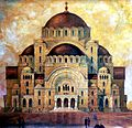 Akvarel Bogdan Nestorovic Hram Svetog Save 1931.jpg