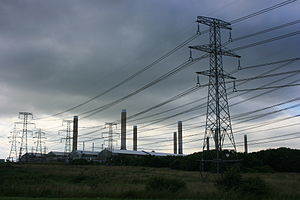 Lynemouth power station - Electricity is fed from the power station to the smelter by a 24 kilovolt connection