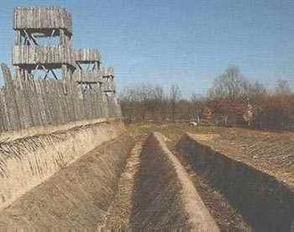 Investment (military) - Reconstructed section of the investment fortifications at Alesia