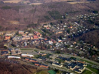 Alfred (village), New York - Aerial view of Alfred village, taken April 2006. Alfred State College is near the bottom of the photo, and at the upper-middle is Alfred University.
