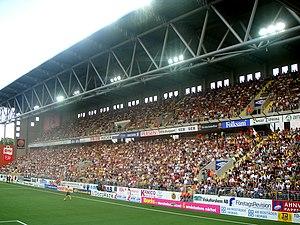 Borås Arena - Ålgårdsläktaren, in a derby against IFK Göteborg.